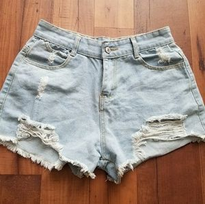 Pants - Denim Cutoff Shorts Light Blue Distressed Frayed M